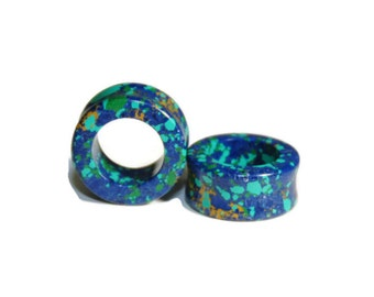 """Blue and Green Stone Tunnels - 2g, 0g, 00g, 7/16"""", 1/2"""", 9/16"""", 5/8"""", 3/4"""", 7/8, 1"""""""