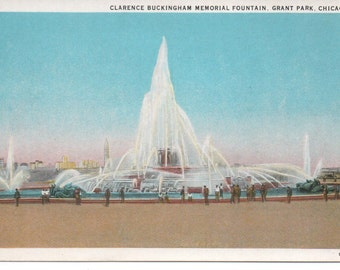 Chicago Worlds Fair 1933 Clarence Buckingham Memorial Fountain  PC Uncirculated