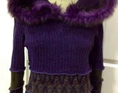 Recycled SweaterSwoodie Hoodie Fairy Jacket Purples Faux Fur By SewWonderifical