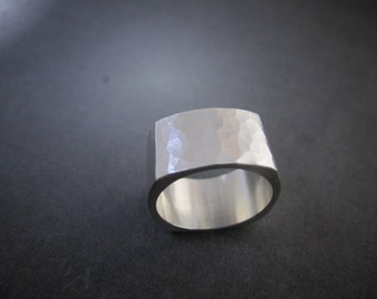 silver square band 10 mm wide ring