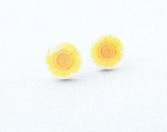 Sunflower Earring Studs Simple Everyday Earrings Yellow Flower Jewelry Summer Earrings Summer Bloom