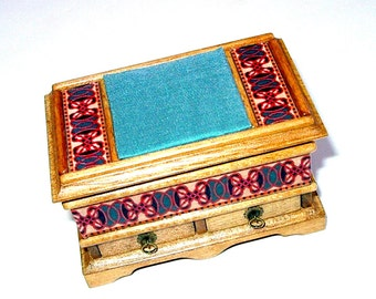 Dower Chest, Silk Cushioned Top, Blanket Chest, Dollhouse Miniature 1/12 Scale,
