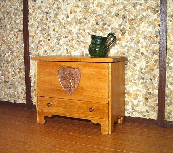 Blanket Chest, Dower Chest, Medieval Lion Shield, Dollhouse Miniature 1/12 Scale, Hand Made in the USA