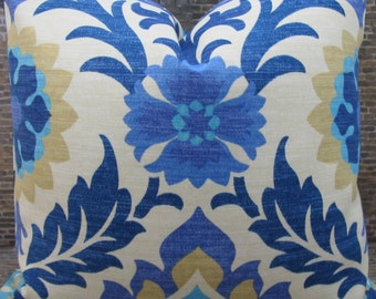 SALE Outdoor Designer Pillow Cover - Lumbar, 16 x 16, 18 x 18, 20 x 20, 22 x 22 - Santa Maria Azure
