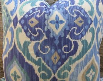 SALE Outdoor Pillow Cover - Lumbar, 16 x 16, 18 x 18, 20 x 20, 22 x 22 - Modern Medallion Scroll Cobalt