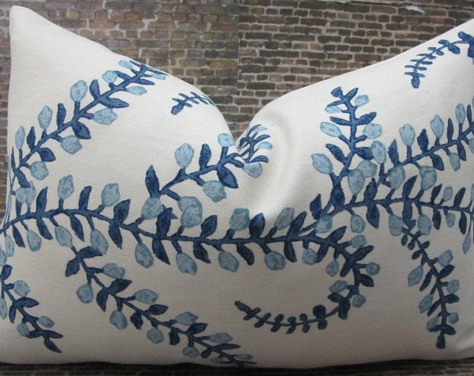 Designer Pillow Cover  -  10 x 20, 12 x 16, 12 x 18, 12 x 20 - JR Prasana Indigo