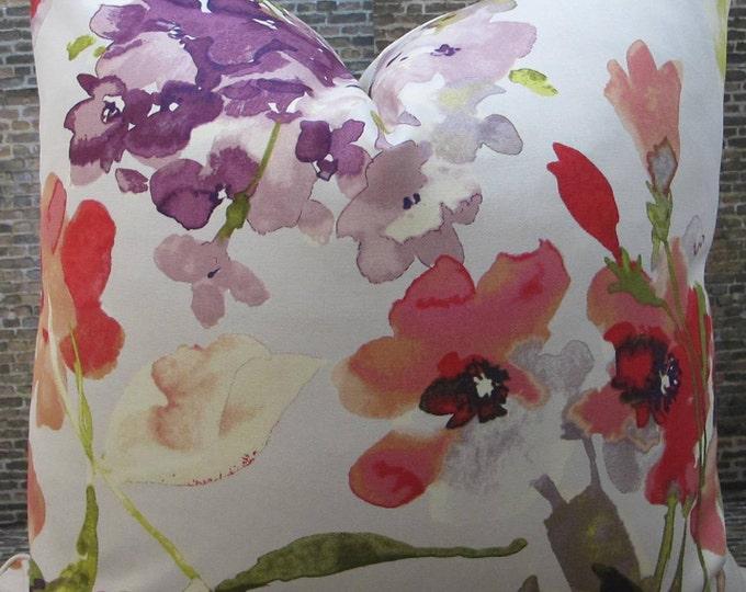 Designer Pillow Cover - 16x 16, 18 x 18, 20 x 20 -  HGTV Floral Berry
