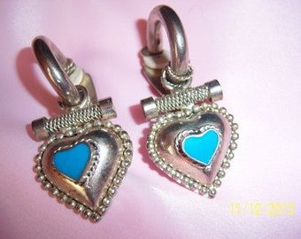Southwestern Style Silver Tone Heart Clip on Earrings