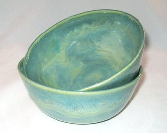 Green and Turquoise Blue Ceramic Soup, Cereal or Snack Bowls