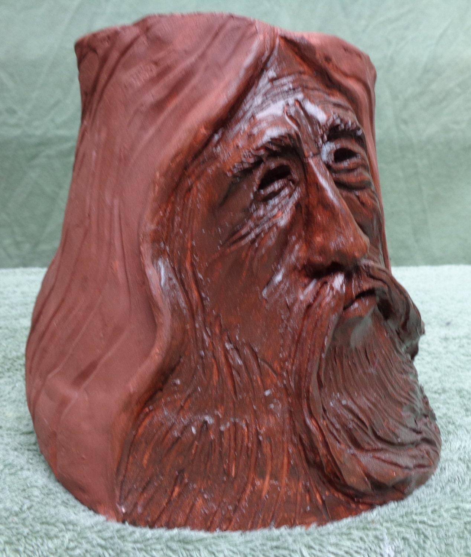 Clay pot planter face sculpture ooak original by don
