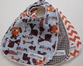 Boy Baby Bibs - Set of 3 - Woof Collection- Orange Chevronj - Brown Plaid