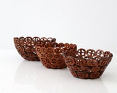 1960s walnut bowl collection , 3 folk art nut bowls