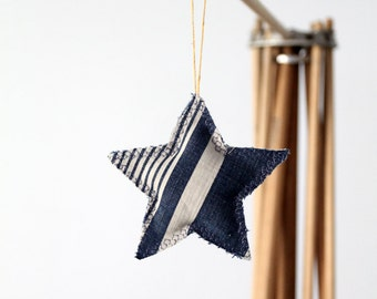 Star Ornament, french ticking and denim