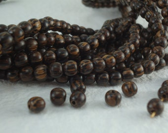 30 Old Palmwood Beads Round 4mm 5mm Genuine Natural Wood Beads Small center drilled Palm wood Dark Wood