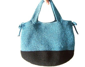 PDF pattern Crochet Bag BLACK/BLUE - Instant Download
