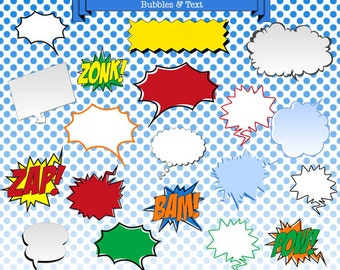 Superhero Speech Bubbles and Banners Clipart - Comic Speech Bubbles Text Clip Art - Superhero Digital Graphics INSTANT DOWNLOAD