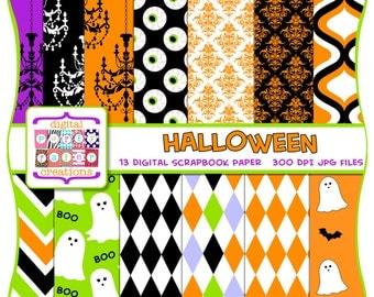 INSTANT DOWNLOAD Halloween Digital Paper Pack - Halloween Scrapbook Paper