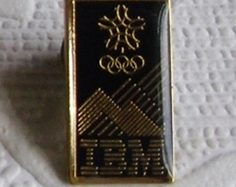 Vintage Lapel Pin - IBM Calgary 1988 Winter Olympic Games - IBM Tie Tack - Olympic Rings, Snowflakes, Mountains  - Vintage Advertising