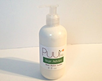 Sage Advice VEGAN Shea Butter Lotion - Rosemary and Sage - Body Lotion Natural Herbal Moisturizing Cream 8oz Paraben Free