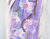 white and lavender cobweb felted  scarf, stole, wrap, white silk flowers blossom