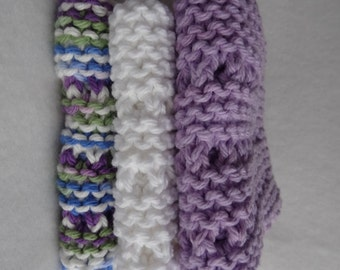Set of three knitted cotton dish clothes in lavendar - ready to ship