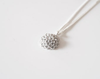 One Chrysanthemum Sterling Silver Necklace