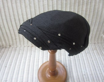REDUCED 1950s Vintage Black Ladies Hat with Rhinestones, Maxine, Needs a Little Work