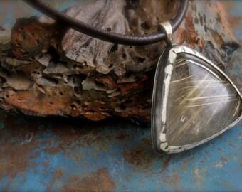 Rutilated Quartz set in Sterling Silver-Pendant