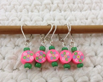 Removable Stitch Markers Flowers - 5 Round Floral Stitch Markers for Crochet and Knitting