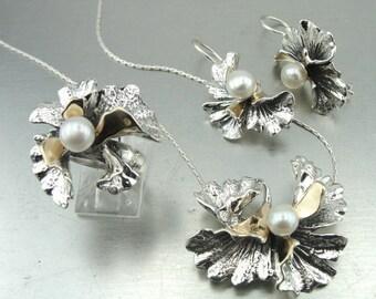 REZERVED FO JILL  - set 2345 ring earrings pendant  Design 9K Yellow Gold & 925 Sterling Silver pearl Woman earrings (vs 2345As