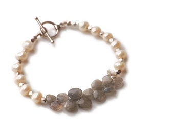 SACRAL CHAKRA - Labradorite and Pearl Briolette Bracelet (Second Chakra - Balance, Arthritis, low energy, spinal issues, addiction)