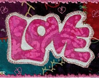 Love Valentine fabric postcard