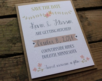 Save the Date Invitation // Wood Grain Texture // Rustic & Modern // Outdoor or Country Wedding // Set of 100 // Magnets optional