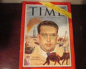 Collectible Time Magazine August 17, 1959 Jaucques Soustelle France Looks For Oil in The Sahara Cover Good - Very Good Condition Great Ads