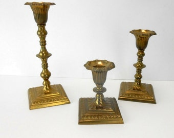 Vintage brass candle sticks brass candle holders brass taper candle sticks made in India ornate brass candle sticks wedding bridal decor