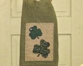 St. Patrick's Day Primitive Tea Towel - Hand Appliqued with Shamrocks - Door Hanging - Wall Hanging - St.Patty's Day Decor - Door Greeter