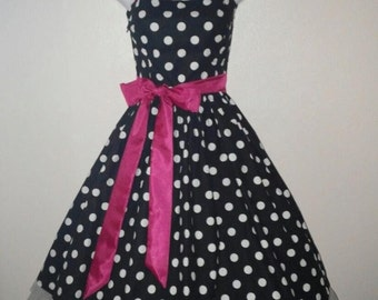 Black and White Polka Dot Pin Up Rockabilly Dress