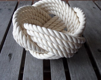 "Nautical Decor Cotton Rope Bowl Basket 7 x 5 ""  Knotted  off white Free Shipping"