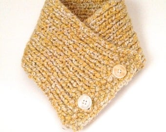 CLEARANCE - Yellow and White Button Neckwarmer