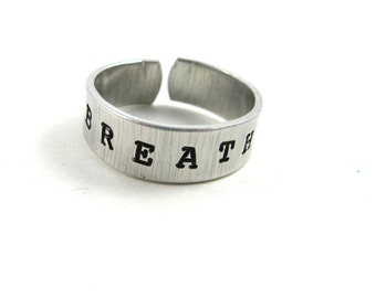 Meditation Ring (Minimalist Zen Jewelry with Hand Stamped Word Breathe or Your Custom Word on Metal)