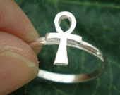 Egyptian Ankh Ring - Sterling Silver - Valentines Day, Spring Wedding, Mother Day Gift, October, November, December Trend