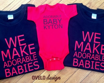 We Make Adorable Babies Set CUSTOM Pictured for new Mom and Dad in Black and Red combo
