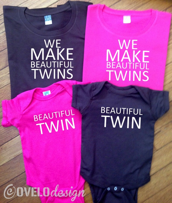 We Make Beautiful Twins Mommy Daddy and Twins set Women's and Men's T-shirt and Baby Bodysuit
