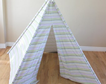Purple, Green, Violet, Lilac, Striped, Play Teepee, Tee Pee, Tent (poles included) Ready to Ship