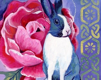 Rosy Bunny, GREETING CARD - bunny art, Dutch bunnies, purple, pink, rose art, red flower art, Celtic knotwork