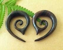 0G 8mm Wood Spiral 1 PAIR SONO WOOD oval round spiral 0 Gauge 8 mm Size