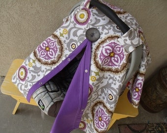 Carseat Canopy Plum Medallions Cover Girl
