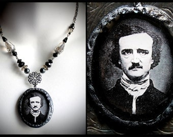 Poe necklace, Victorian poet, mourning jewelry, gothic romantic, author, macabre, dark, The Raven, Halloween, mysterious, black
