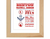 Baseball theme custom sports print, Birth Stats, Baby Gift, Nursery Decor, Digital File
