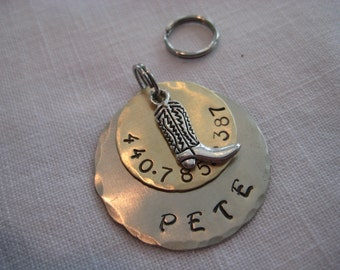 Pet Tag- Cowboy Boot charm on Hand Stamped Disc